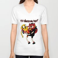 wrestling V-neck T-shirts featuring It's Wrestling Time!  by Rad Recorder