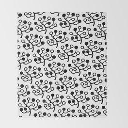 Mid Century Modern Berries Pattern Black & White Throw Blanket