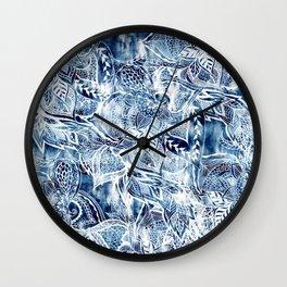 Modern navy blue tie die watercolor floral white boho hand drawn pattern Wall Clock