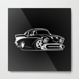 Classic American Hot Rod Cartoon Metal Print