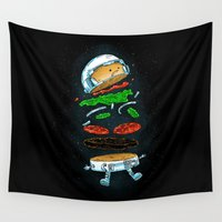 hamburger Wall Tapestries featuring The Astronaut Burger by Nick Volkert