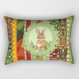 Bunny in geen frame with geometric background Rectangular Pillow