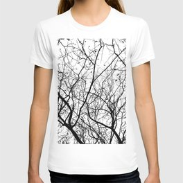 FOLIAGE SERIES Minimal branches in black and white T-shirt