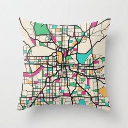 Colorful City Maps: Kansas City, Missouri Throw Pillow