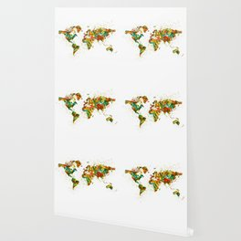 Map of the World watercolor Wallpaper