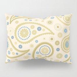Paisley Funky Design Cream Golds Blues Pillow Sham