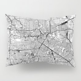 Houston White Map Pillow Sham