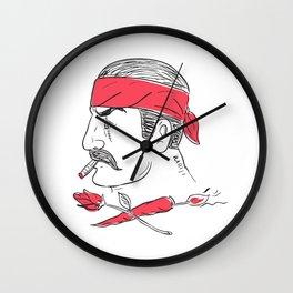 Mexican Guy Cigar Hot Chili Rose Drawing Wall Clock