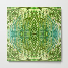 Green and Blue Abstract Mandala 829 Metal Print
