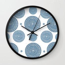 Blue Mosaic Circles Wall Clock