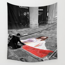 Street Art in Bologna Black and White Photography Color Wall Tapestry