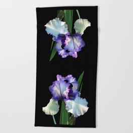 Iris 'Freedom Song' on black Beach Towel