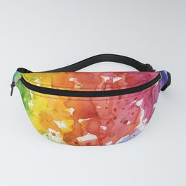 Rainbow Watercolor Texture Abstract Pattern Fanny Pack