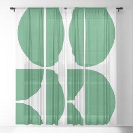Mid Century Modern Green Square Sheer Curtain