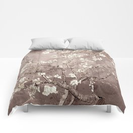 Van Gogh Almond Blossoms Beige Taupe Comforters