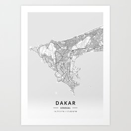 Dakar, Senegal - Light Map Art Print