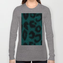 Spotted Leopard Print Turquoise Teal Long Sleeve T-shirt