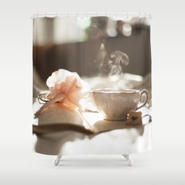 Morning Reflections- journal with a flower pen and a hot drink Shower Curtain