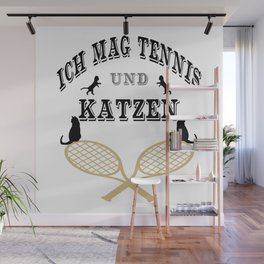 I Like Tennis And Cats Sport Design Cool Funny Wall Mural