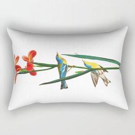 Bird & Red Flowers Rectangular Pillow