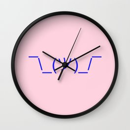 Hands Up Emoji Shrug - Pink and Blue Wall Clock