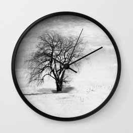 Black and White Tree in Winter Wall Clock