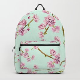 Spring Flowers - Mint and Pink Cherry Blossom Pattern Backpack