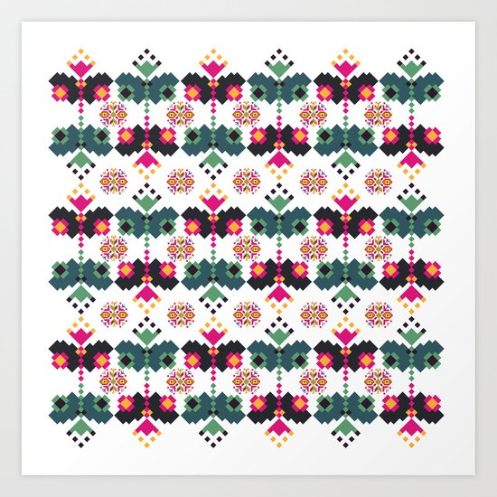 Bulgarian embroidery pattern 02 Art Print