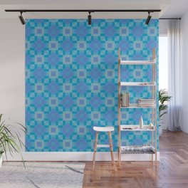 soleil - ocean blues mauve geometric square pattern Wall Mural