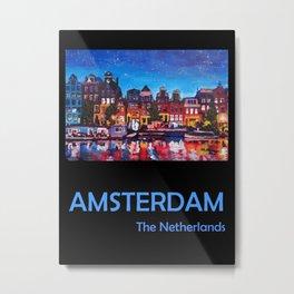 Retro Travel Poster Amsterdam Netherlands Metal Print