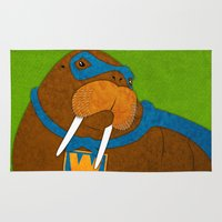 walrus Area & Throw Rugs featuring Walrus by subpatch