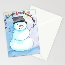 Watercolor Snowman With Floral Wreath Stationery Cards