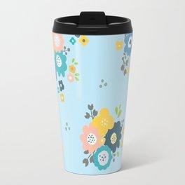 Romantic flowers in light blue background Travel Mug