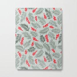 Mistletoe on Teal Metal Print