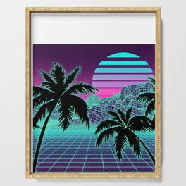 Retro 80s Vaporwave Sunset Sunrise With Outrun style grid print Serving Tray
