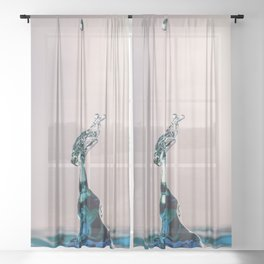 Blue water drop's collide Sheer Curtain