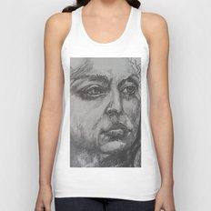 Pencil Sketch of Female Face/Portrait. Graphite Unisex Tank Top