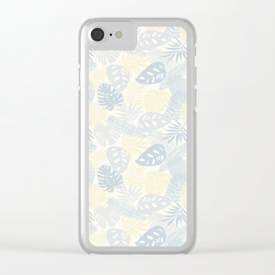 Tropical Leaves Pattern Yellow And Grey Clear iPhone Case