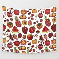food Wall Tapestries featuring Red Food by Sam Magee