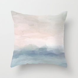 Blush Pink Mint Sky Baby Blue Abstract Ocean Sky Sunrise Wall Art, Water Clouds Painting Throw Pillow