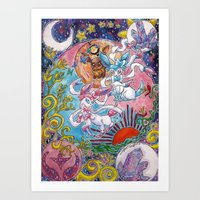 sylveon Art Prints featuring Sylveon Watercolor by Theresa Felice