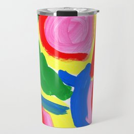 Primary Colors Colorful Abstract Modern - What Colors of Flowers Did You Like When You Were Kids? Travel Mug