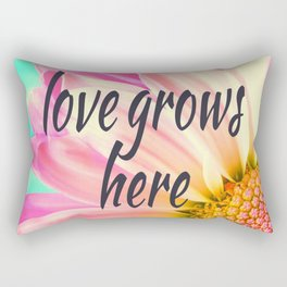 Love grows | Aethetic quotes | Floral | Flower | Sunflower Rectangular Pillow