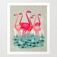 yetiland Art Prints featuring Flamingos by Andrea Lauren  by Andrea Lauren Design