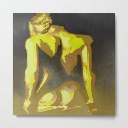Beautiful Young Woman Wearing Plaits and Panties (Yellow) Metal Print