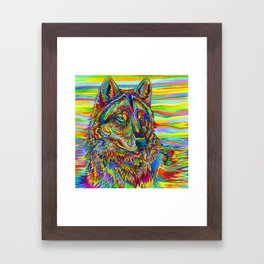 Colorful Psychedelic Rainbow Wolf Framed Art Print