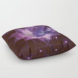 Galaxy Sacred Geometry: Purple Rhombic Hexecontahedron Floor Pillow