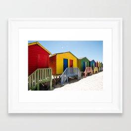 Colorful beach huts Framed Art Print