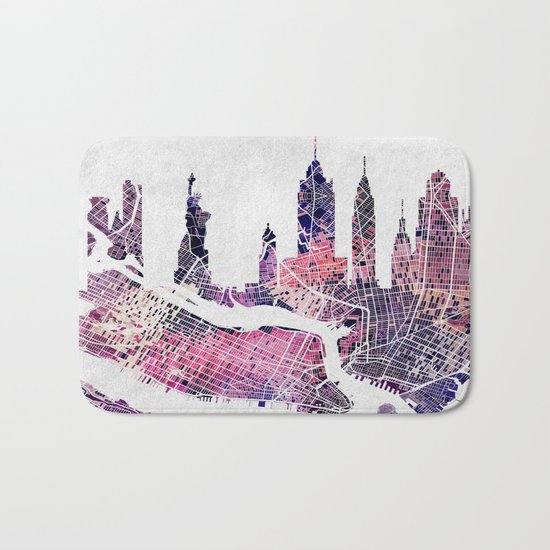 New York Skyline + Map Bath Mat