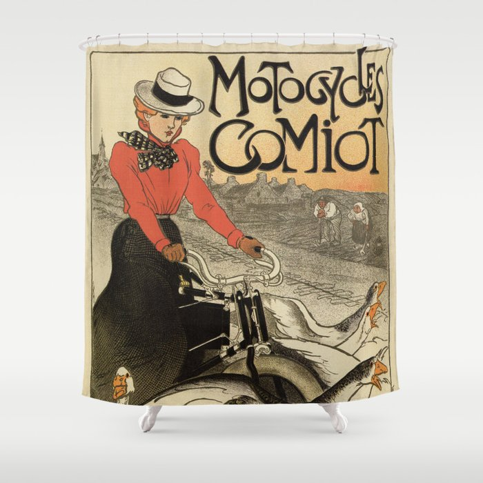 1899 vintage French motorcycle ad by Steinlen Shower Curtain